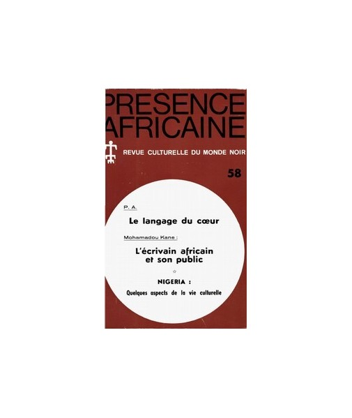 REVUE PRESENCE AFRICAINE N° 58