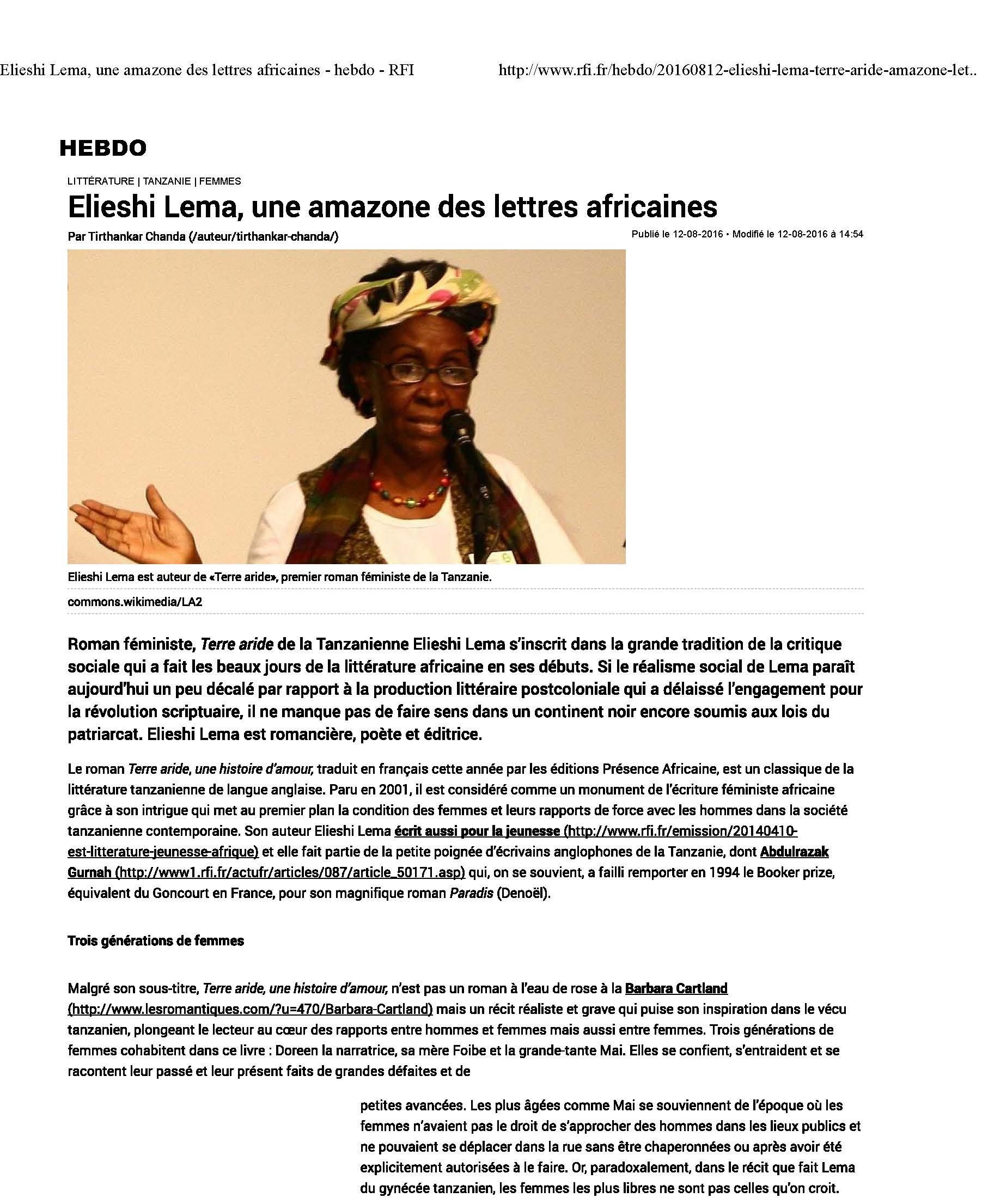 Elieshi Lema, une amazone des lettres af